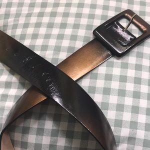 Ann Taylor gold/Black wide leather belt. Size S